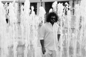 Daniel Bejar Destroyer in black and white fountain.